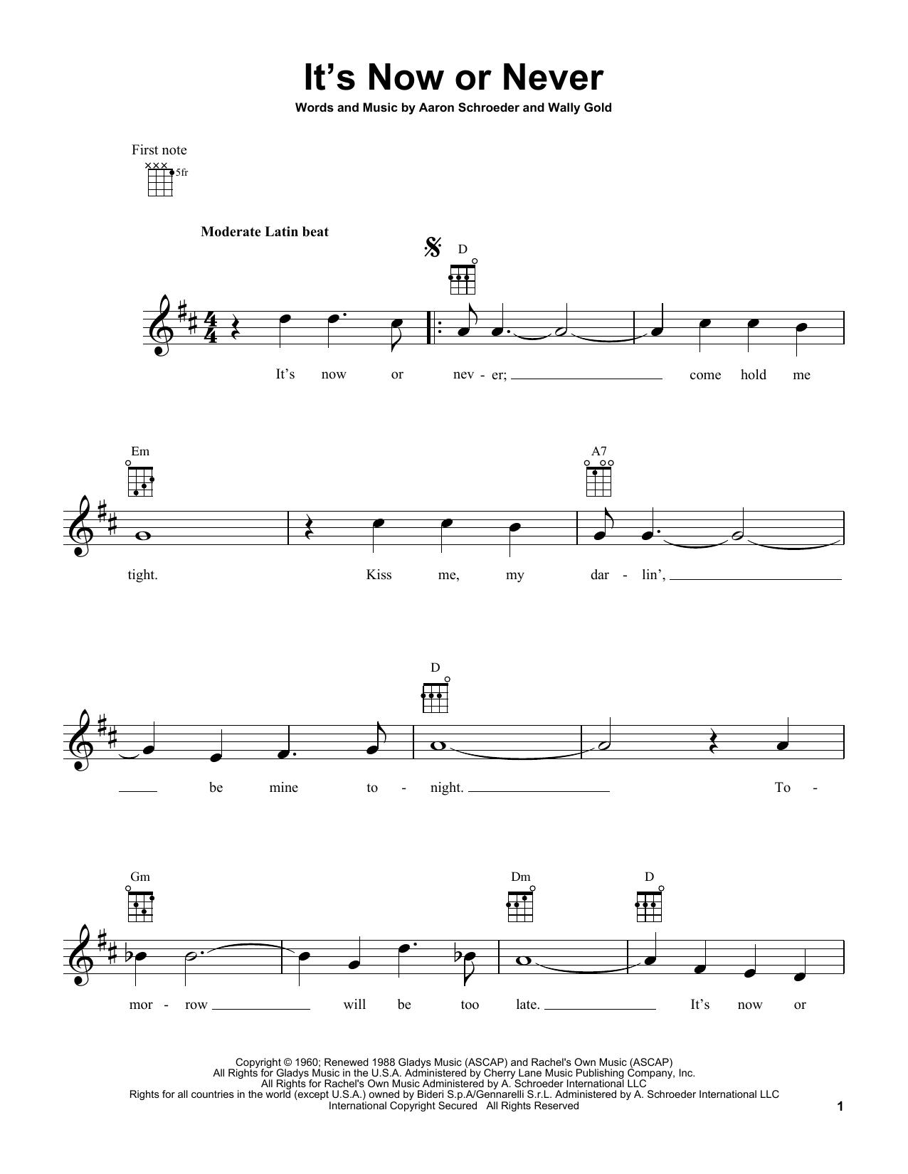 Tablature guitare It's Now Or Never de Elvis Presley - Ukulele