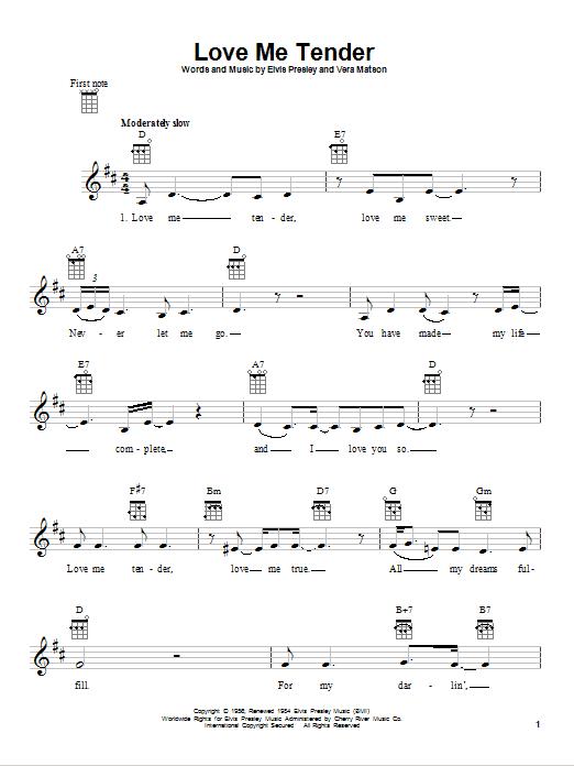 Love Me Tender by Elvis Presley - Ukulele - Guitar Instructor