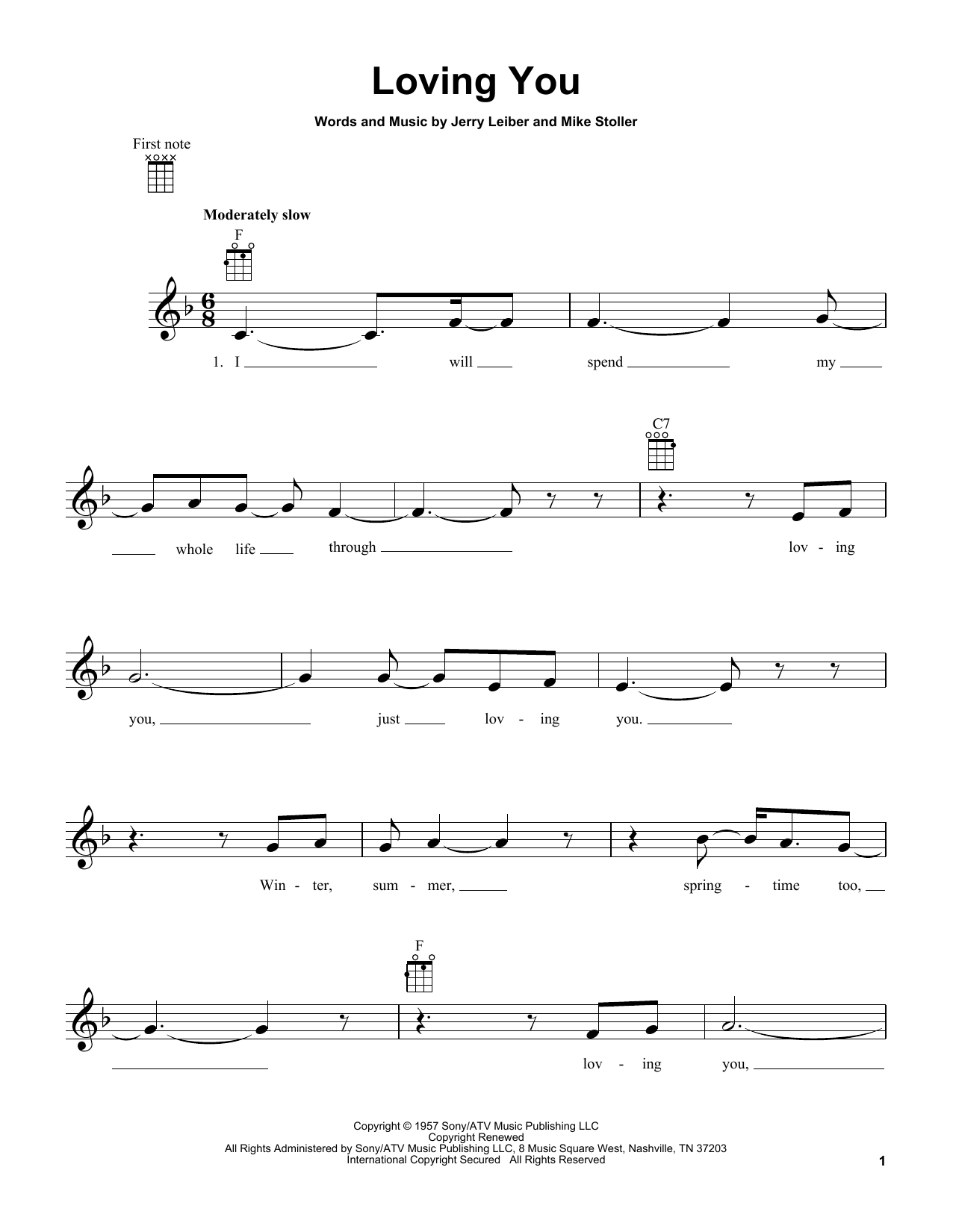 Tablature guitare Loving You de Elvis Presley - Ukulele