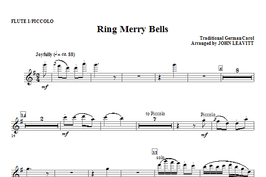 Ring Merry Bells - Flute 1 (Piccolo) Sheet Music