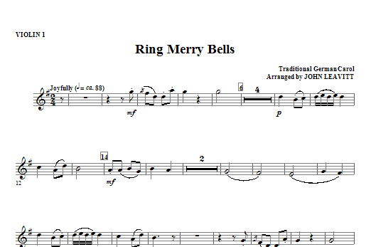 Ring Merry Bells - Violin 1 Sheet Music