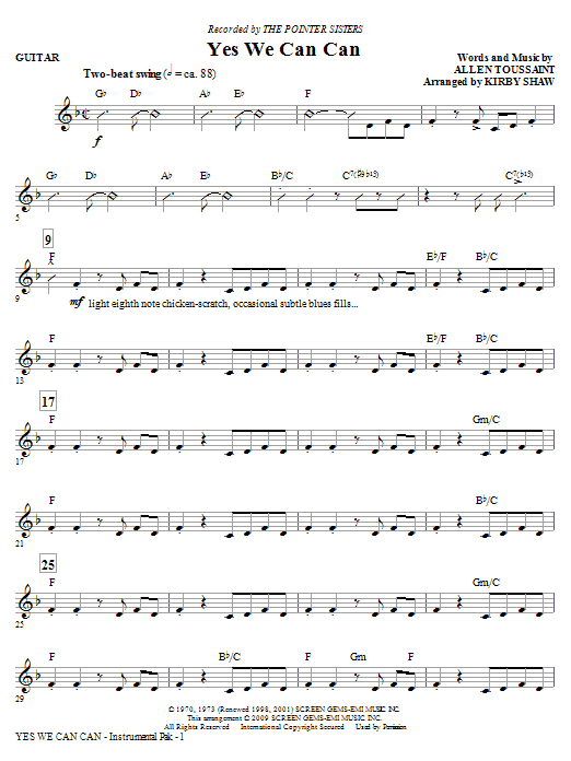 Yes We Can Can - Guitar Sheet Music