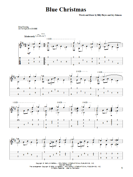 Blue Christmas Sheet Music | Elvis Presley | Guitar Tab