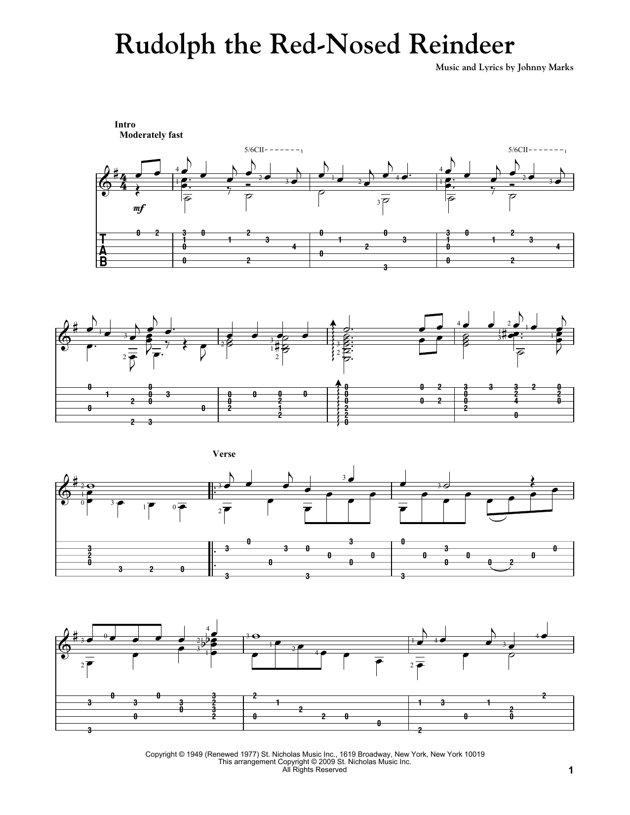 Tablature guitare Rudolph The Red-Nosed Reindeer de Johnny Marks - Tablature Guitare