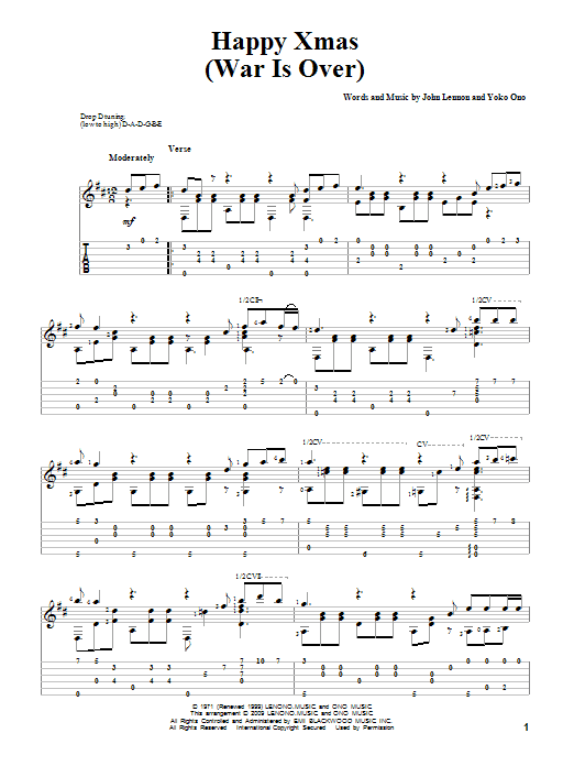 Guitar guitar tabs xmas : Happy Xmas (War Is Over) Guitar Tab by John Lennon (Guitar Tab ...