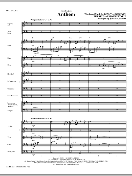Anthem (from Chess) (COMPLETE) sheet music for orchestra/band (chamber ensemble) by Bjorn Ulvaeus, Benny Andersson, John Purifoy, Josh Groban, Miscellaneous and Tim Rice. Score Image Preview.