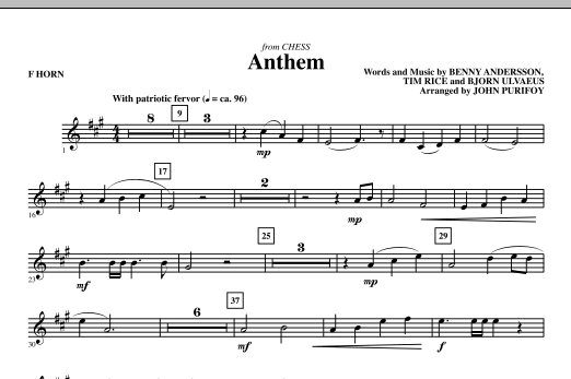 Anthem (from Chess) - F Horn (Choir Instrumental Pak)
