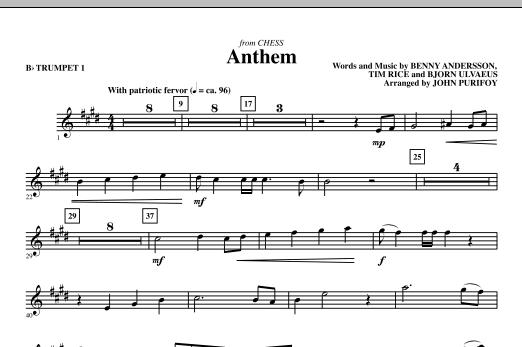 Anthem (from Chess) - Bb Trumpet 1 (Choir Instrumental Pak)