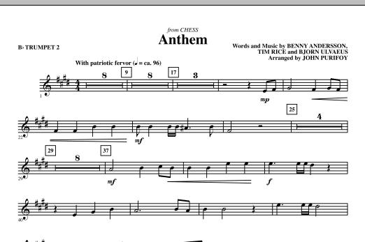 Anthem (from Chess) - Bb Trumpet 2 (Choir Instrumental Pak)