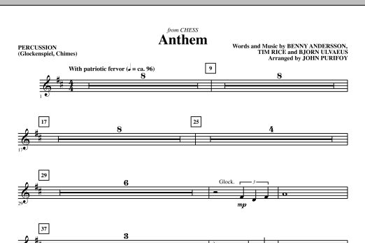 Anthem (from Chess) - Percussion (Choir Instrumental Pak)