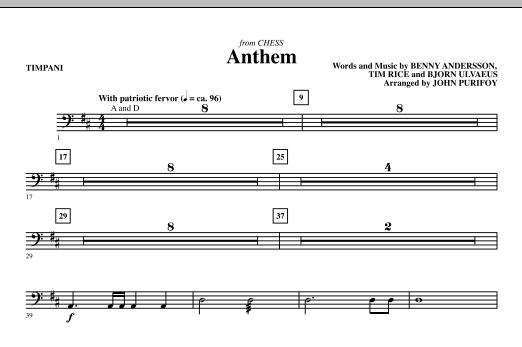 Anthem (from Chess) - Timpani (Choir Instrumental Pak)