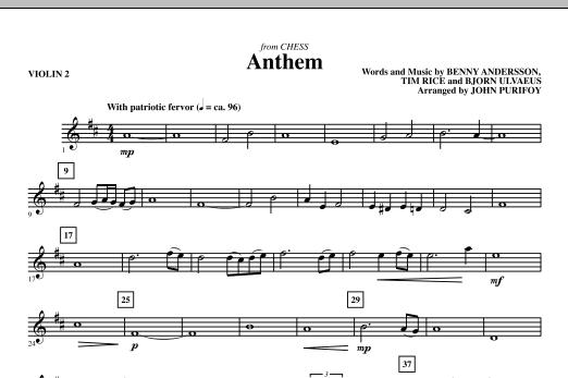 Anthem (from Chess) - Violin 2 (Choir Instrumental Pak)