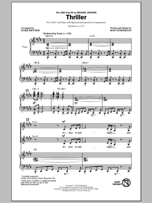 Thriller (2-Part Choir)