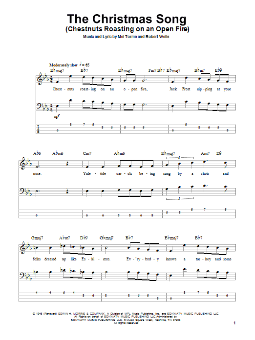Tablature guitare The Christmas Song (Chestnuts Roasting On An Open Fire) de Mel Torme - Tablature Basse