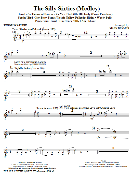 The Silly Sixties (Medley) - Tenor Sax/Flute (Choir Instrumental Pak)