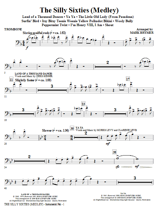 The Silly Sixties (Medley) - Trombone (Choir Instrumental Pak)