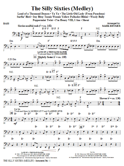 The Silly Sixties (Medley) - Bass (Choir Instrumental Pak)