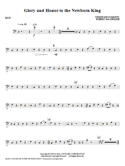 Glory And Honor To The Newborn King - Bass Sheet Music