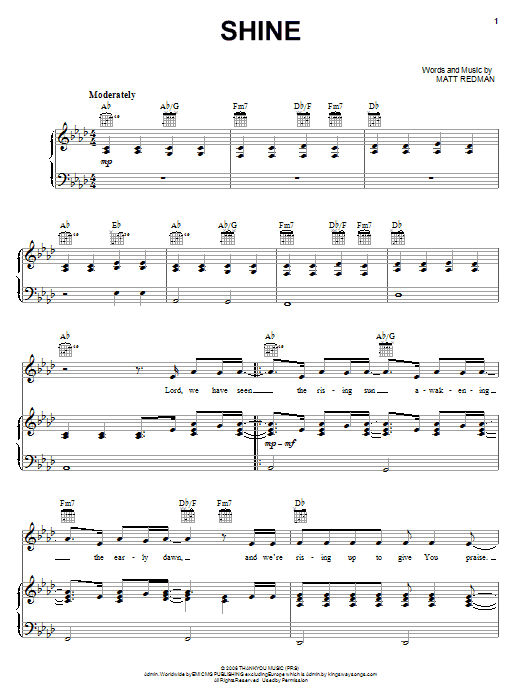 Shine Sheet Music