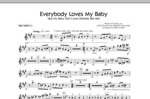 Everybody Loves My Baby (But My Baby Don't Love Nobody But Me) (complete set of parts) sheet music for orchestra/band (chamber ensemble) by Kirby Shaw, Jack Palmer and Spencer Williams. Score Image Preview.