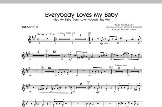 Everybody Loves My Baby (But My Baby Don't Love Nobody But Me) - Trumpet 2 (Choir Instrumental Pak)