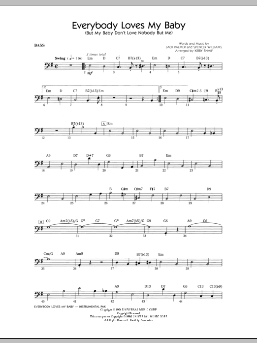 Everybody Loves My Baby (But My Baby Don't Love Nobody But Me) - Bass Sheet Music
