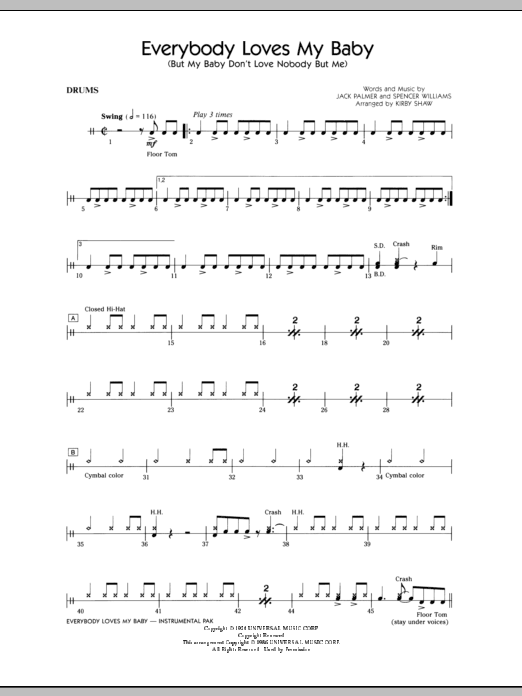 Everybody Loves My Baby (But My Baby Don't Love Nobody But Me) - Drums Sheet Music