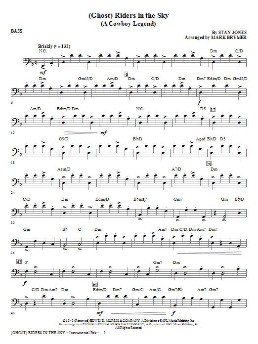 (Ghost) Riders In The Sky (A Cowboy Legend) - Bass Sheet Music