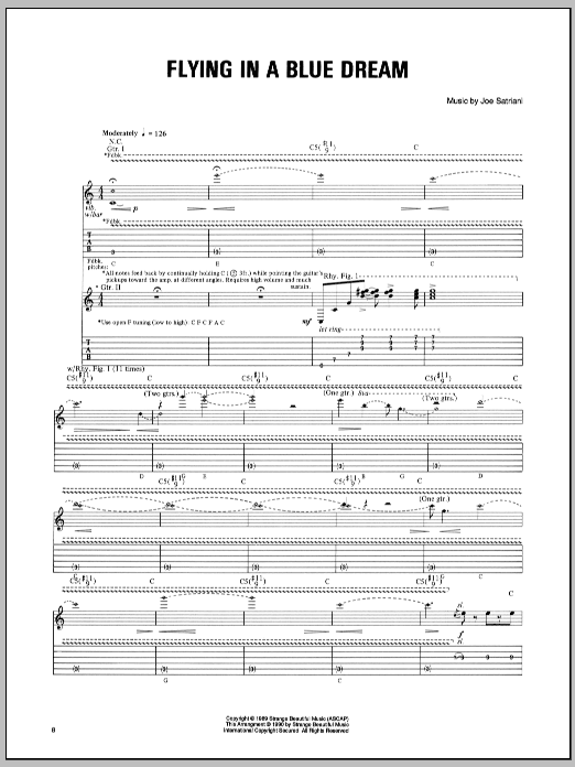 Tablature guitare Flying In A Blue Dream de Joe Satriani - Tablature Guitare