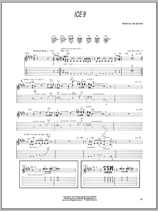 Tablature guitare Ice 9 de Joe Satriani - Tablature Guitare