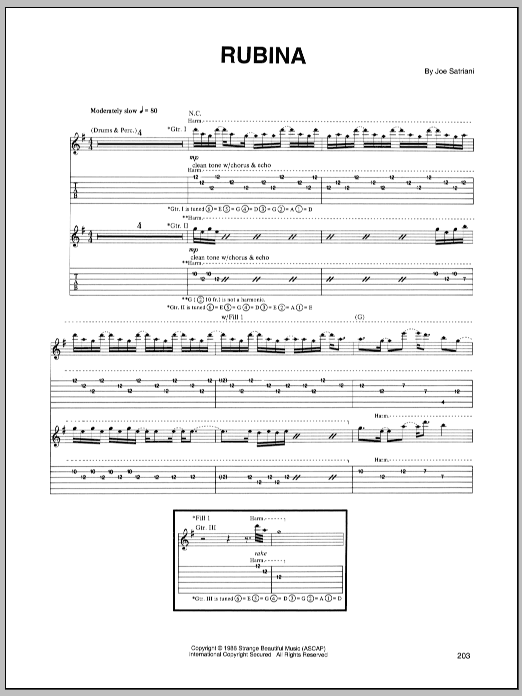 Tablature guitare Rubina de Joe Satriani - Tablature Guitare