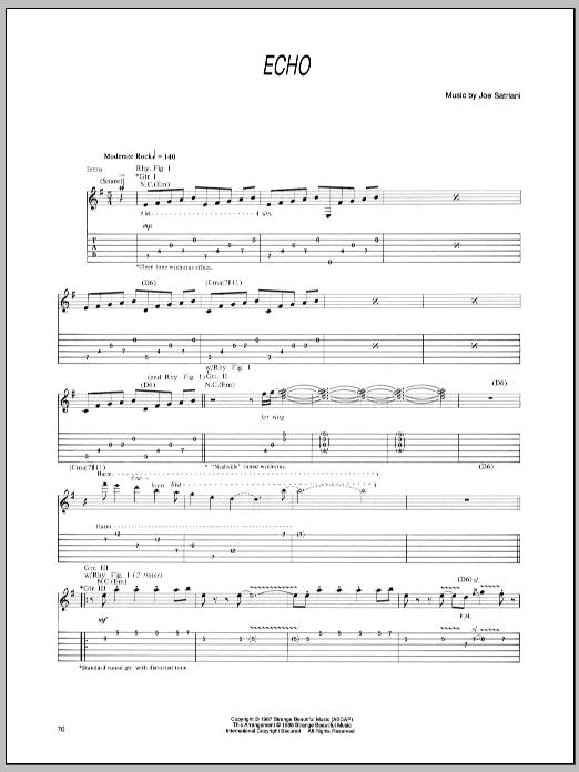 Tablature guitare Echo de Joe Satriani - Tablature Guitare