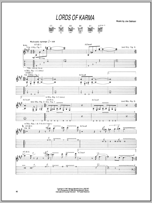 Tablature guitare Lords Of Karma de Joe Satriani - Tablature Guitare