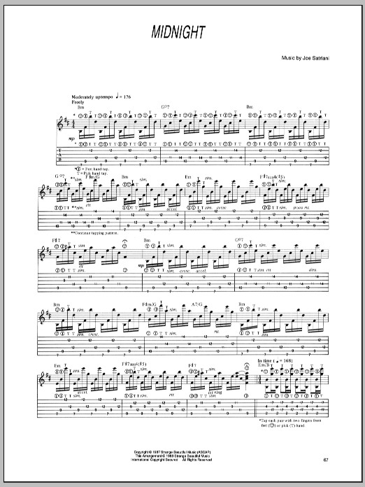 Tablature guitare Midnight de Joe Satriani - Tablature Guitare