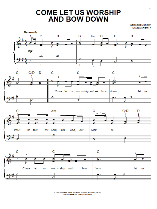 Come Let Us Worship And Bow Down (Easy Piano)