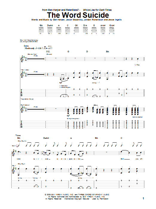 The Word Suicide Sheet Music