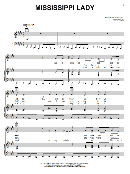 Mississippi Lady (Piano, Vocal & Guitar (Right-Hand Melody))