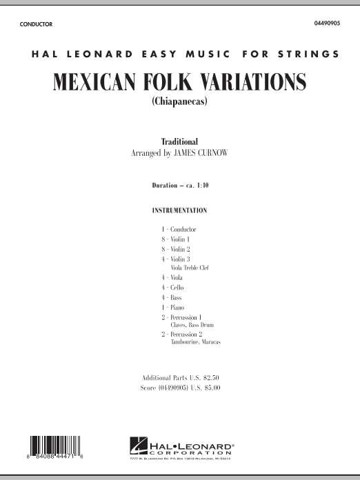 Mexican Folk Variations (COMPLETE) sheet music for orchestra by James Curnow and Miscellaneous. Score Image Preview.