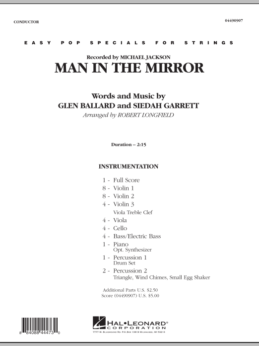 Man in the Mirror (COMPLETE) sheet music for orchestra by Robert Longfield, Glen Ballard, Michael Jackson and Siedah Garrett. Score Image Preview.