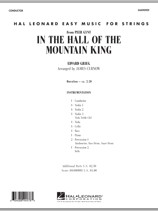 In the Hall of the Mountain King (COMPLETE) sheet music for orchestra by James Curnow and Edward Grieg. Score Image Preview.