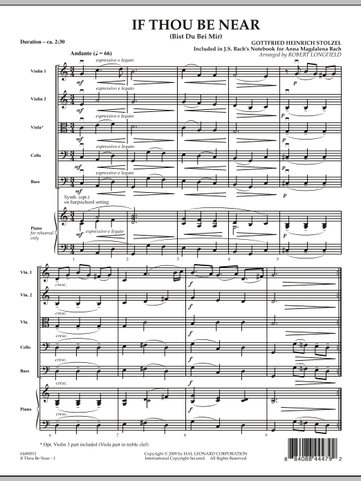 If Thou Be Near (Bist Du bei Mir) (COMPLETE) sheet music for orchestra by Robert Longfield, Gottfried Heinrich Stolzel and Johann Sebastian Bach. Score Image Preview.