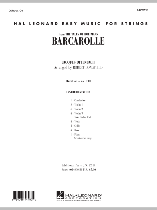 Barcarolle (COMPLETE) sheet music for orchestra by Robert Longfield and Jacques Offenbach. Score Image Preview.