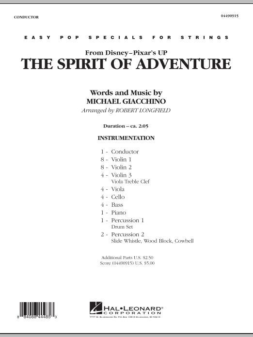 The Spirit Of Adventure (from Up) (COMPLETE) sheet music for orchestra by Robert Longfield and Michael Giacchino. Score Image Preview.