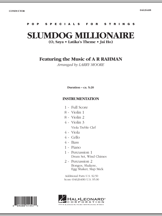 Slumdog Millionaire (COMPLETE) sheet music for orchestra by Larry Moore and A.R. Rahman. Score Image Preview.
