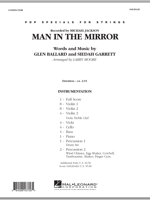 Man in the Mirror (COMPLETE) sheet music for orchestra by Larry Moore, Glen Ballard, Michael Jackson and Siedah Garrett. Score Image Preview.