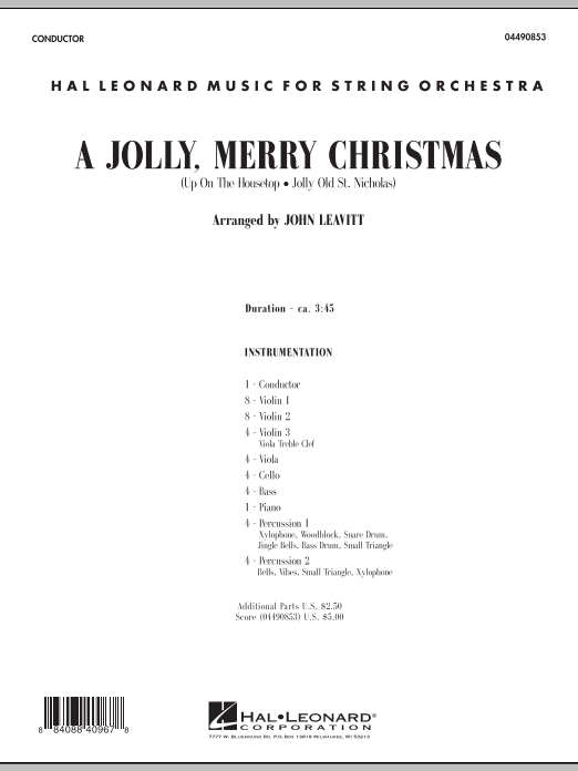 A Jolly, Merry Christmas (COMPLETE) sheet music for orchestra by John Leavitt. Score Image Preview.