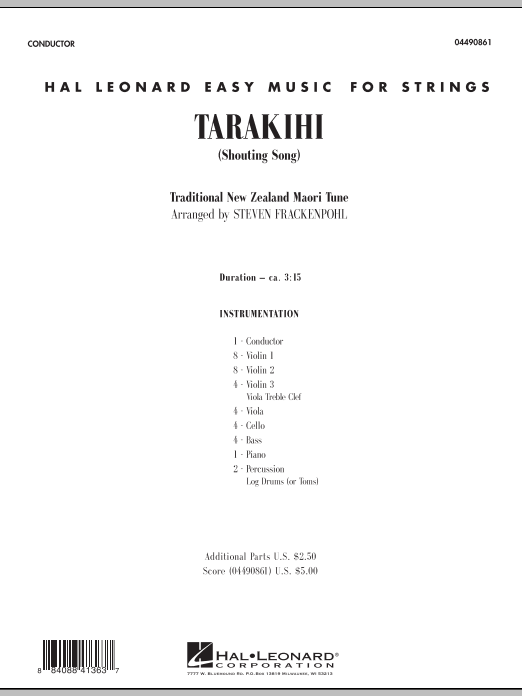 Tarakihi (Shouting Song) (COMPLETE) sheet music for orchestra by Steve Frackenpohl and Miscellaneous. Score Image Preview.