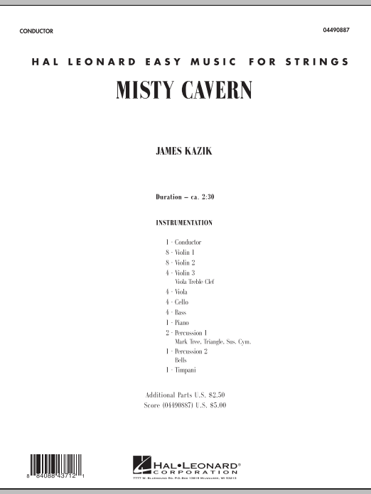 Misty Cavern (COMPLETE) sheet music for orchestra by James Kazik. Score Image Preview.