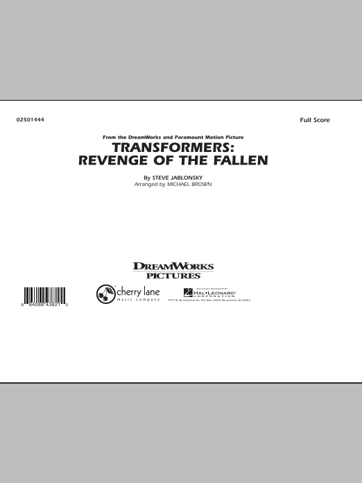 page one of Transformers: Revenge Of The Fallen - Full ScoreASALTTEXT