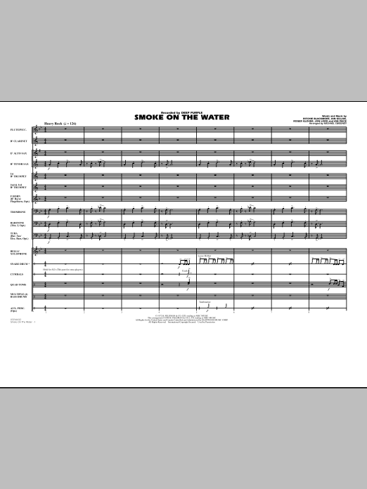 Smoke On The Water (COMPLETE) sheet music for marching band by Michael Sweeney and Deep Purple. Score Image Preview.